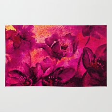 floral in deep pink and yellow Rug