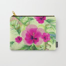 Pink hibiscus with tropic leaves Carry-All Pouch
