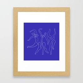 Picasso Line Art - Dancers - Blue Background Framed Art Print