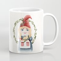 gnome Mugs featuring Female Gnome by Fercute