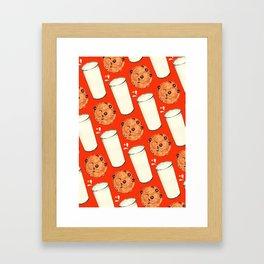 Milk & Cookies Pattern - Red Framed Art Print