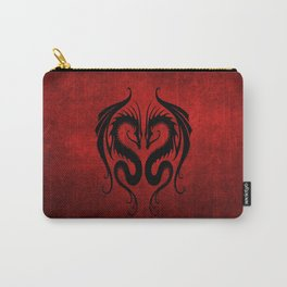 Black and Red Twin Tribal Dragons Carry-All Pouch