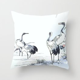 Antique Japanese Woodblock Print Art By Kono Bairei - Five Cranes Standing In The Swamp Water  Throw Pillow