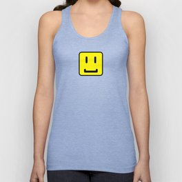 SQUARE SMILEY FACE CLASSIC YELLOW W/ BLACK Unisex Tank Top