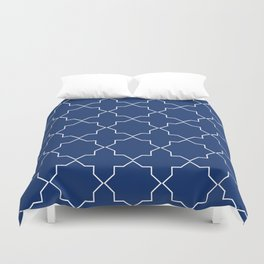 Royal Blue and White Islamic Geometric Pattern Duvet Cover