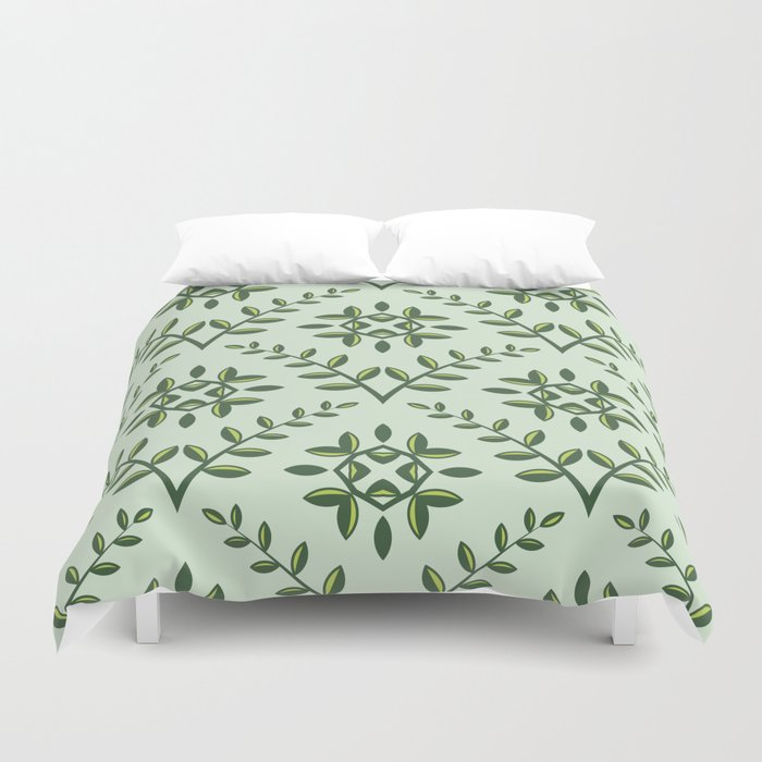 Green Olive Branch Pattern Duvet Cover