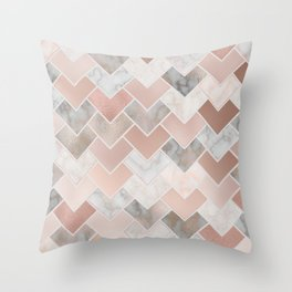 Rose Gold and Marble Geometric Tiles Throw Pillow