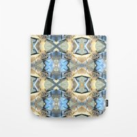 bands Tote Bags featuring Blue And Beige Bands by Phil Perkins
