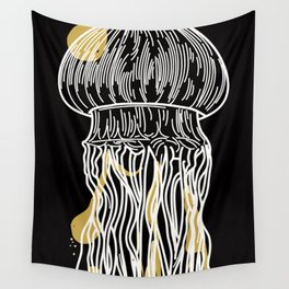 Electric Gold Jellyfish Uno Wall Tapestry