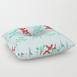 Red, Turquoise, and Jadeite Deer Floor Pillow