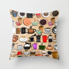 Coffee Mugs, Cups and Makers Throw Pillow