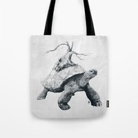 tortoise Tote Bags featuring Tortoise Tree by Adam Dunt