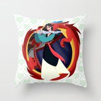mulan Throw Pillows featuring Mulan by Karrashi