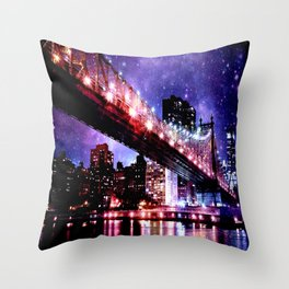 Majestic New York City: Manhattan Bridge Throw Pillow