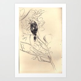 Bird and Leaves Art Print