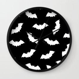 Black & White Bats Pattern Wall Clock