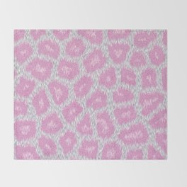 Snow Leopard style - Silver Pink Throw Blanket