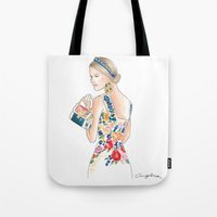 baroque Tote Bags featuring Baroque  by Angelica Moreno