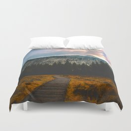 Path leading to Mountain Paradise Mountain Snow Capped Pine trees Tall Grass Sunrise Landscape Duvet Cover