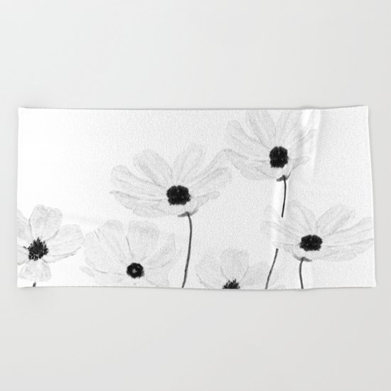 black and white cosmos  Beach Towel