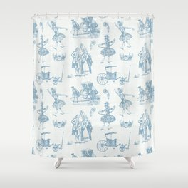 French Toile in Pigeon Blue Shower Curtain