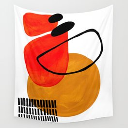 Mid Century Modern Abstract Vintage Pop Art Space Age Pattern Orange Yellow Black Orbit Accent Wall Tapestry