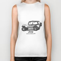 jeep Biker Tanks featuring Jeep by CurvedandTwisted