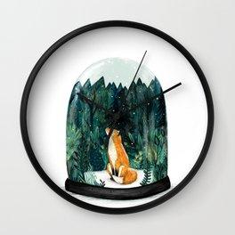 Snow Globe Fox Wall Clock