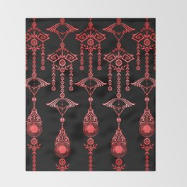 CASTELLINA JEWELS: ORNATE RED GOTH Throw Blanket