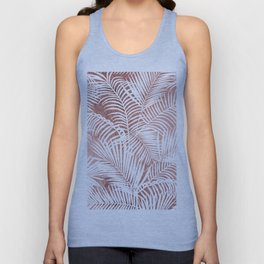 Modern elegant white faux rose gold palm tree Unisex Tank Top