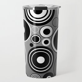 Geometric black and white rings on metallic silver Travel Mug