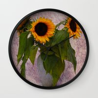 sunflowers Wall Clocks featuring Sunflowers  by Guna Andersone & Mario Raats - G&M Studi