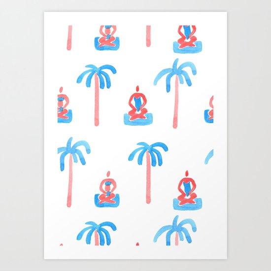 yoga watercolor pattern Art Print
