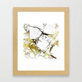 Gold-White Marble Impress Framed Art Print