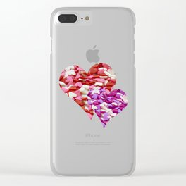 Two Candy Hearts - Pink, Red and Purple Valentine's Day Love Clear iPhone Case