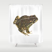 western Shower Curtains featuring Western Toad by CJ Hitchcock