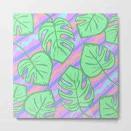 Tropical AF Monstera in Bubblegum Metal Print