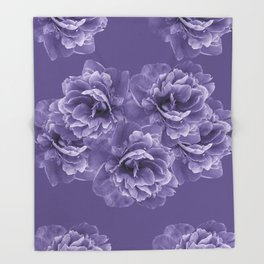 Ultra Violet Peony Flower Bouquet #1 #floral #decor #art #society6 Throw Blanket