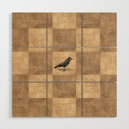 Patchwork Crow Wood Wall Art