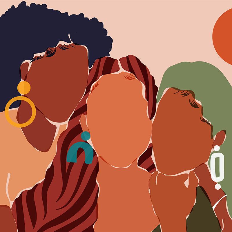 illustration of three black women wearing colorful earrings