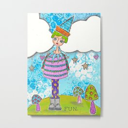 Funky Mixed Media Girl with Mushrooms, Clouds and Doodles in Dyan Reaveley Style with Bright Colors Metal Print