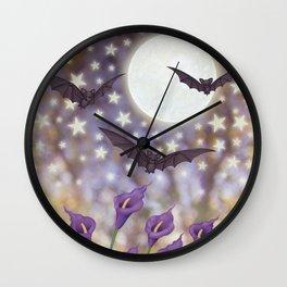 the moon, stars, bats, & calla lilies Wall Clock