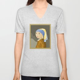 Girl with pearl by Vermeer  Unisex V-Neck