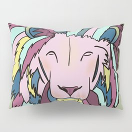Lion Head King OF The Jungle In Teal, Pink, And Purple Pastels Pillow Sham