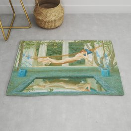 Beauty in the Garden Reflection Pool, Sara, belle d'indolence female portrait painting by Henry James Holiday Rug