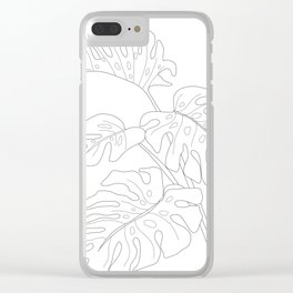 Line Art Monstera Leaves Clear iPhone Case