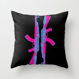 Neon AK-47 Throw Pillow