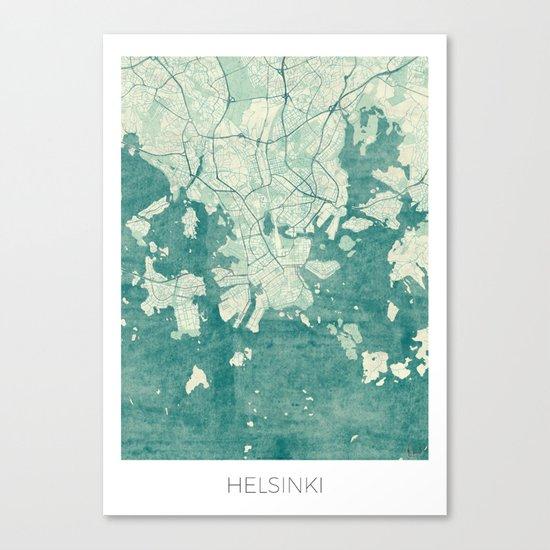 Helsinki Map Blue Vintage Canvas Print