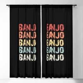 Retro Vintage Banjo design Gift 70s 80s Eighties Style Blackout Curtain