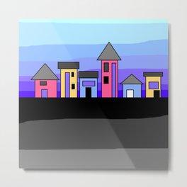 Pastel Evening Houses Metal Print